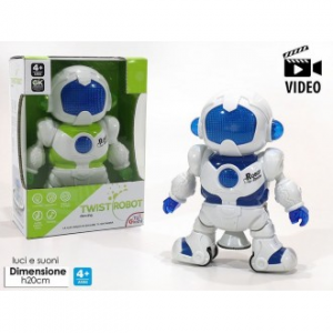 General Trade Twist Robot Bianco e Blu Con Luci Suoni E Movimento Giocattolo e Video
