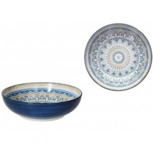 Tognana Casablanca Insalatiera 25 cm Blu con Ricamo Colorato Elegante Insalatiera Ciotola in Porcellana per La Casa