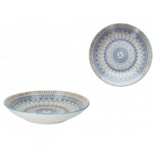 Tognana Casablanca Primo Piatto Portata Fondo 32 cm Colorato Con Disegni Blu