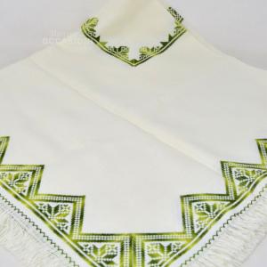 Centrino Bianco Bordo Verde Triangoli 96x96cm