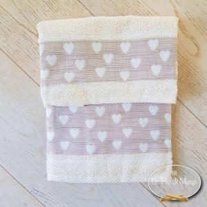 Asciugamani Cuoricini panna