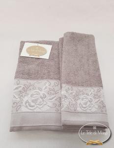 Coppia asciugamani jacquard Rose grigio