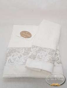 Coppia asciugamani jacquard Rose bianco