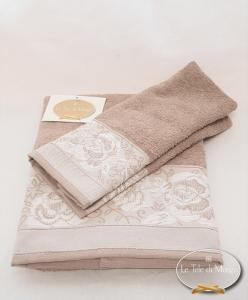 Coppia asciugamani jacquard Rose tortora