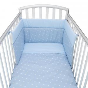 Babysanity® Caldo Piumino Lettino Neonato Completo di Paracolpi Lettino, Federa e Copripiumino Sfoderabile Per l'uso Estivo 100% Cotone -Made in Italy- (Stella Azzurra)