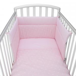 Babysanity® Caldo Piumino Lettino Neonato Completo di Paracolpi Lettino, Federa e Copripiumino Sfoderabile Per l'uso Estivo 100% Cotone -Made in Italy- (Stella Rosa)