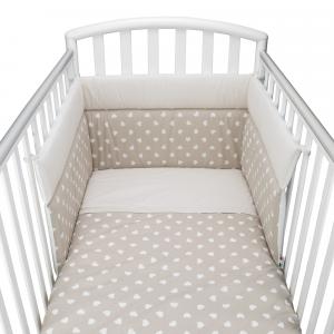 Babysanity® Caldo Piumino Lettino Neonato Completo di Paracolpi Lettino, Federa e Copripiumino Sfoderabile Per l'uso Estivo 100% Cotone -Made in Italy- (Cuore Beige)