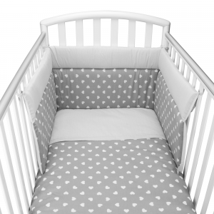 Babysanity® Caldo Piumino Lettino Neonato Completo di Paracolpi Lettino, Federa e Copripiumino Sfoderabile Per l'uso Estivo 100% Cotone -Made in Italy- (Cuore Grigio)