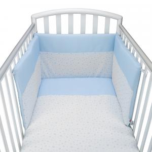 Babysanity® Caldo Completo Paracolpi e Piumone Sfoderabile con Copri Piumino e Federa in Cotone 100% Anallergico e Traspirante Per Lettino Neonato Alta Qualità -Made In Italy- (Stelline Azzurro)