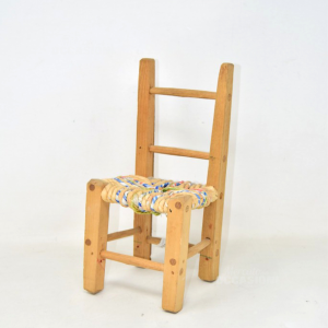 Chair Handcrafted In Wood For Dolls Braided Colored 27 Cm Height