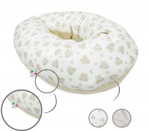 Babysanity® Cuscino Gravidanza Di Qualità' Per Un Allattamento Confortevole Del Neonato Cotone 100% - Made In Italy - (Cagnolino beige)