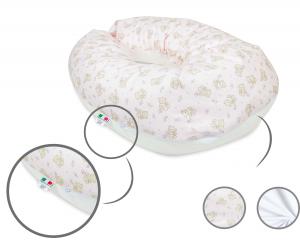 Babysanity® Cuscino Gravidanza Di Qualità' Per Un Allattamento Confortevole Del Neonato Cotone 100% - Made In Italy - (Palloncino Rosa)