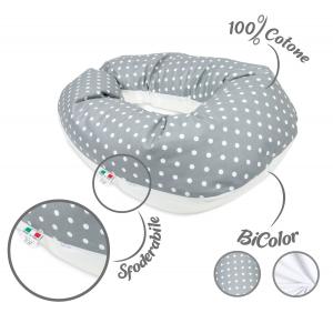 Babysanity® Cuscino Gravidanza Di Qualità' Per Un Allattamento Confortevole Del Neonato Cotone 100% - Made In Italy - (Pois Grigio)