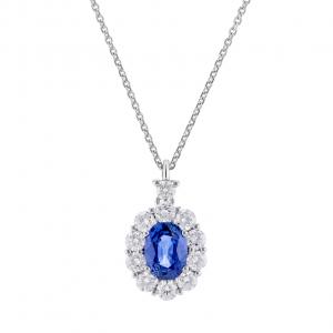 World Diamond Group, PENDENTE CON ZAFFIRO CONTORNATO DA 10 DIAMANTI