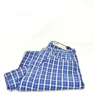 Pants Man Gas A Quadretti White Blue Size.33 Model.california