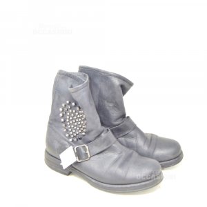 Ankle Boots Real Woman Leather Borchiati With Heart N°.40