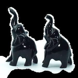 Coppia Elefanti in corno di bufalo