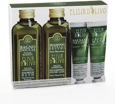 Erbario Toscano Set Elisir D'Olivo – Bagno Doccia, Shampoo, Balsamo e crema mani