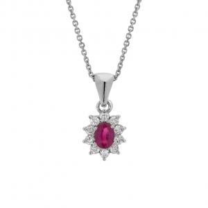 Collana Oro 18kt  Rubino e Diamanti