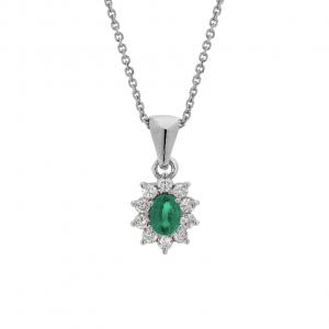 Collana Oro 18kt Smeraldo e Diamanti