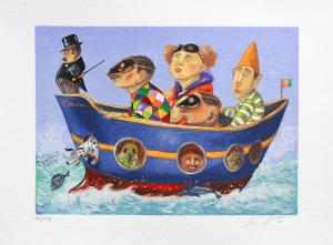 Procopio Pino Circo di Lampedusa Serigrafia Formato cm 35x50