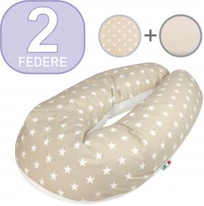 Babysanity® Cuscino Allattamento con 2 Federe Di Qualità' Per Un Allattamento Confortevole Del Neonato Cotone 100% - Made In Italy - (Stella e Righe Beige)