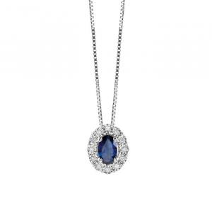 Collana Regal Bliss in oro diamanti e zaffiro