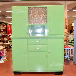 Credenza With Display Cabinet Intage Color Green Paint