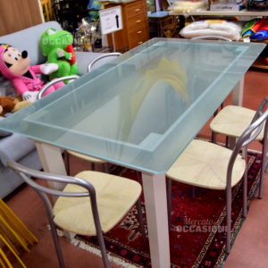 Table Glass Satin With Legs White New