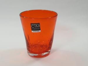 Bicchiere colorato con bolle MANDARINO