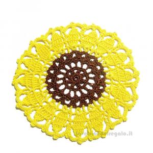 4 pz - Sottobicchiere Girasole giallo e marrone ad uncinetto 16 cm - Handmade in Italy