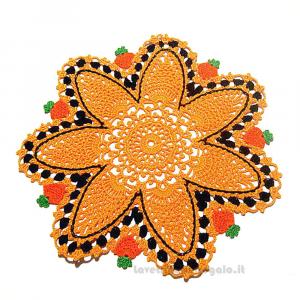 Centrino rotondo arancione per Halloween ad uncinetto 27.5 cm - Handmade in Italy