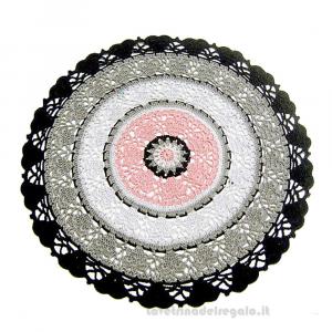 Centrino rosa, grigio e nero rotondo ad uncinetto 33 cm - Handmade in Italy