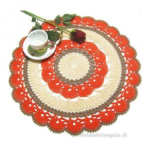 Centrino arancione, beige e tortora rotondo ad uncinetto 42 cm - Handmade in Italy