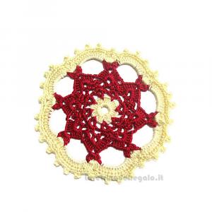 4 pz - Sottobicchiere bordeaux e crema ad uncinetto 11 cm - Handmade in Italy