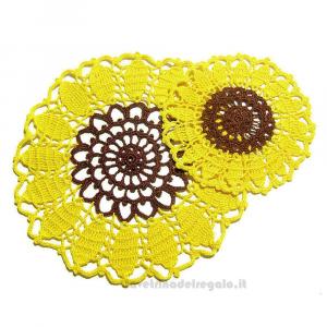 Centrino Girasole giallo e marrone con 4 sottobicchieri - Handmade in Italy