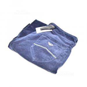 Pants Woman Armani Jeans Size.30 Blue Dark Velvet