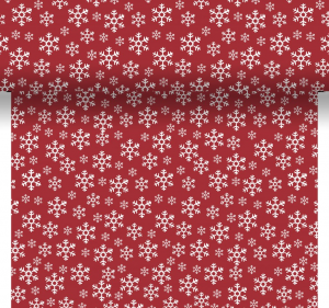 Tovaglia runner RED SNOWFLAKES decorata