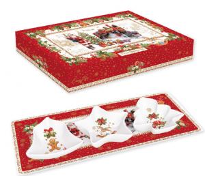 EASY LIFE PIATTO IN PORCELLANA CM. 36X16 CON 3 CIOTOLE IN COLOR BOX LINEA CHRISTMAS MEMORIES R1006#CHME
