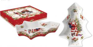 EASY LIFE PIATTO ABETE NATALIZIO IN PORCELLANA CM. 28,5X21,5 IN COLOR BOX LINEA CHRISTMAS MEMORIES R1095#CHME