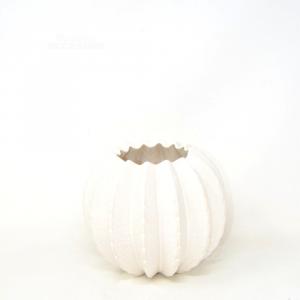 Vase Ceramic Enameled White A Spicchi 18x20 Cm Approx