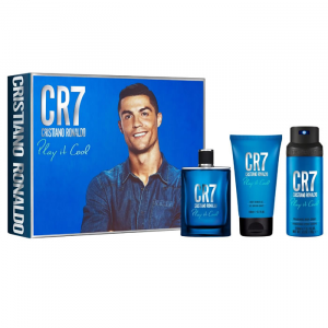 CR7 Cristiano Ronaldo Play It Cool Eau De Toilette Spray 100ml Set 3 Parti