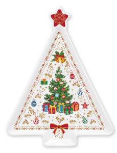 EASY LIFE PIATTO A FORMA DI ABETE IN PORCELLANA CM. 21X16 IN COLOR BOX LINEA CHRISTMAS ORNAMENTS R1325#CHOR