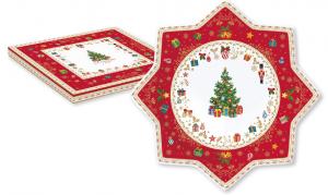 EASY LIFE PIATTO TORTA IN PORCELLANA DIAMETRO CM. 32 IN COLOR BOX LINEA CHRISTMAS ORNAMENTS R2070#CHOR