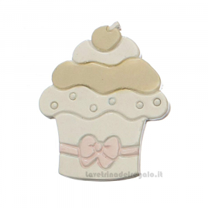 Magnete dolce Cupcake Rosa 5 cm - Bomboniera battesimo bimba