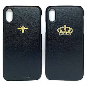 Cover in ecopelle nera marchiata oro a caldo per iPhone X Xs Xr XMax XsMax