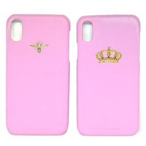 Cover in ecopelle rosa marchiata oro a caldo per iPhone X Xs Xr XMax XsMax