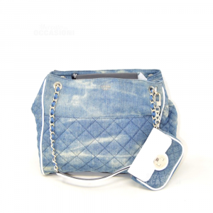 Bag Guess In Jeans Quilted 30x27x9 Cm + Purse