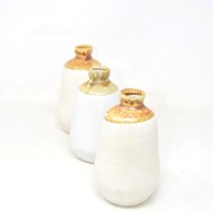 Tris Of Vases Ceramic Enameled Tall 15 Cm White / Brown
