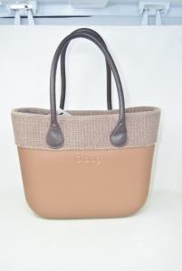 Bag Obag Bronzata With Doppi Handles Brown,internal Canvas Beige,41x31x10 Cm